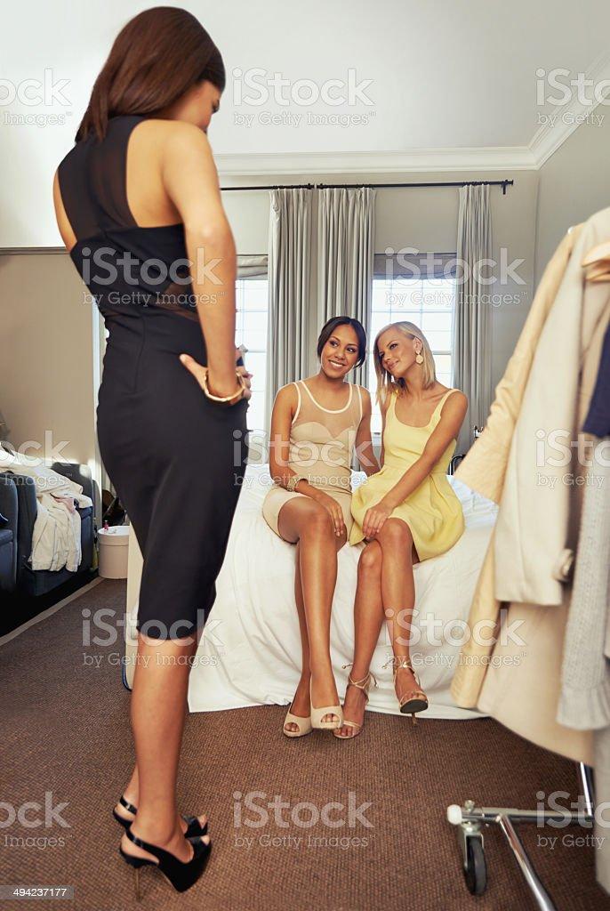 That dress fits like a glove stock photo