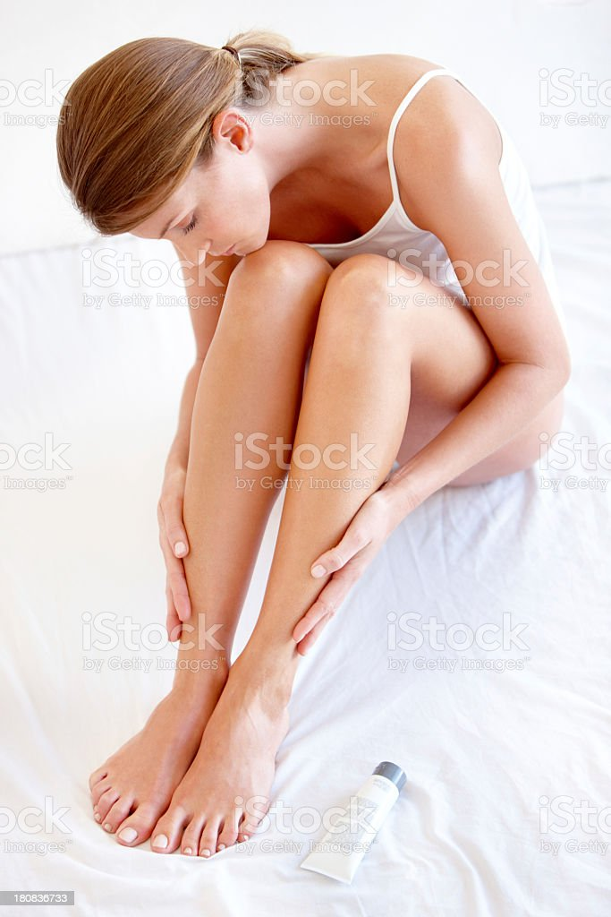 That feeling you get when you've just shaved your legs stock photo