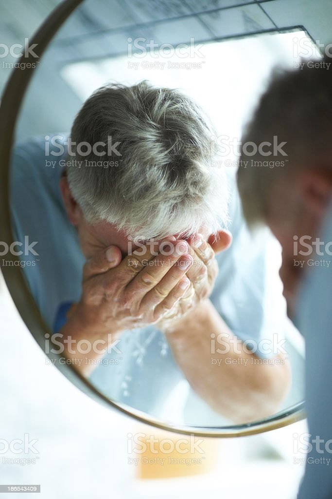 That first splash wakes me up in the morning stock photo
