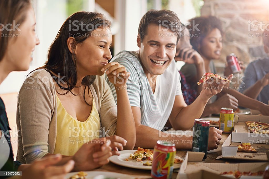 That great combination of awesome people and good food stock photo