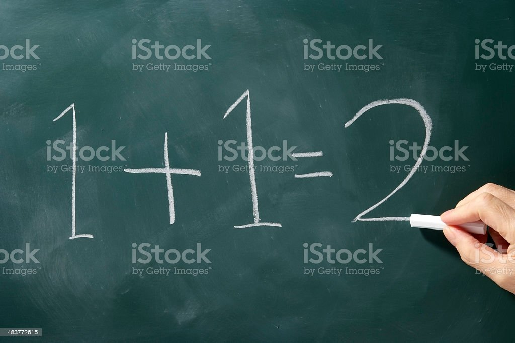 1+1=2 that I wrote with chalk on a blackboard stock photo