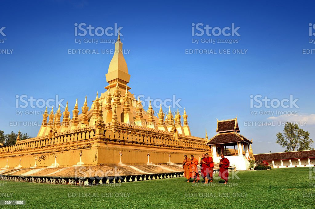 That Luang Stupa, landmark of Vientiane, Lao PDR stock photo