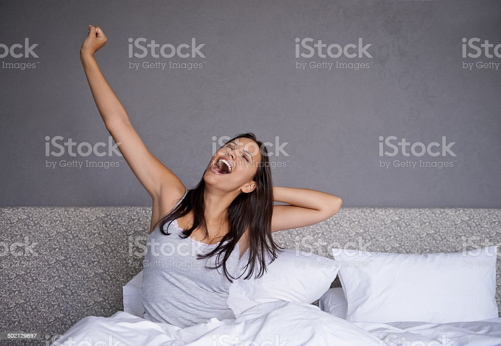 That was a great night's sleep stock photo