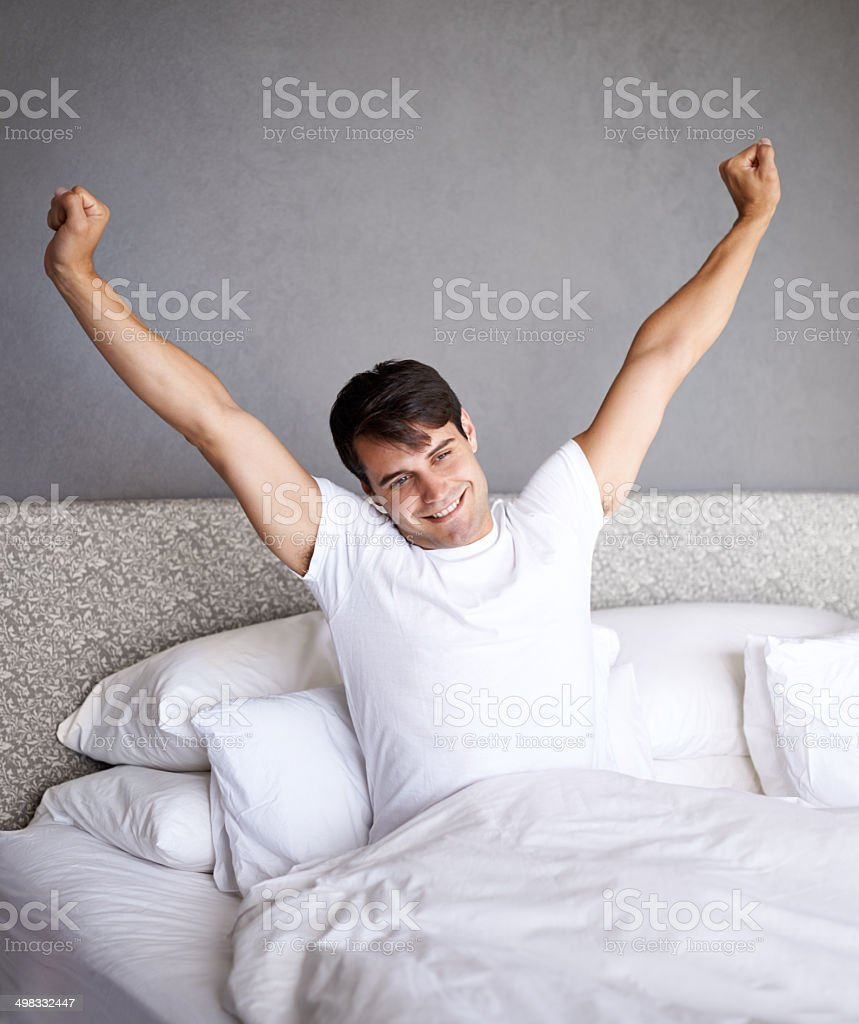 That was the best sleep ever stock photo