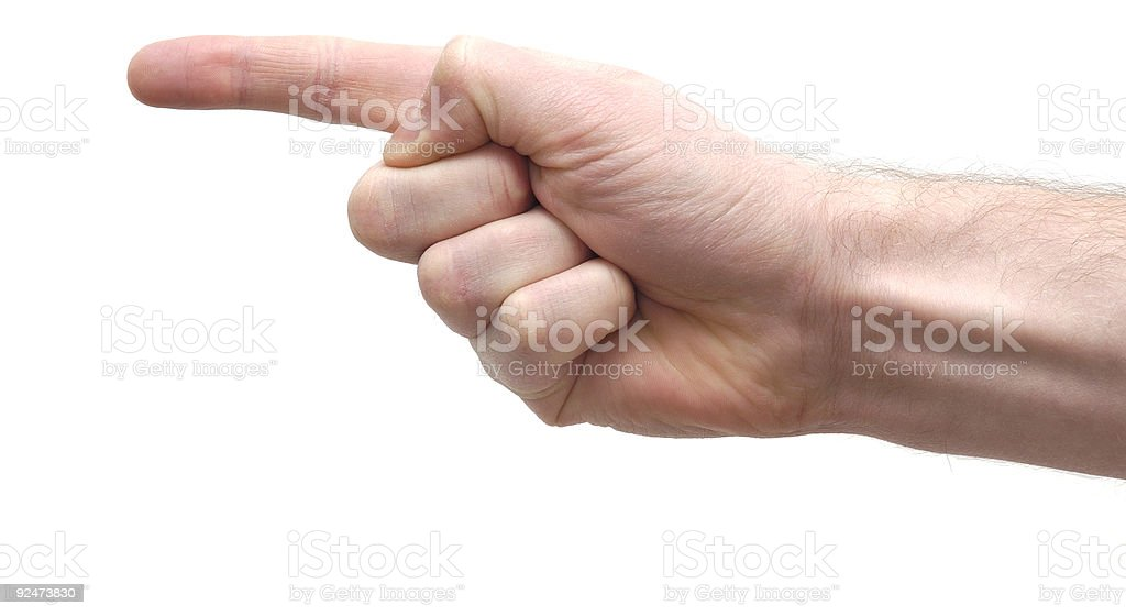 that way isolated pointing hand stock photo