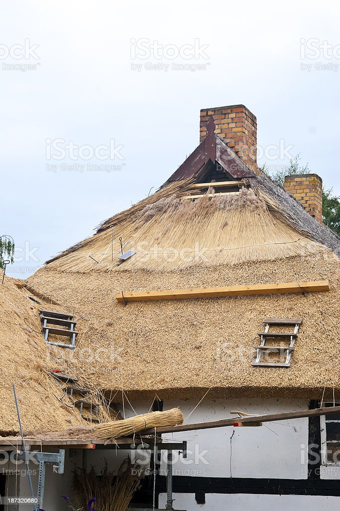 Thatch Renovation royalty-free stock photo
