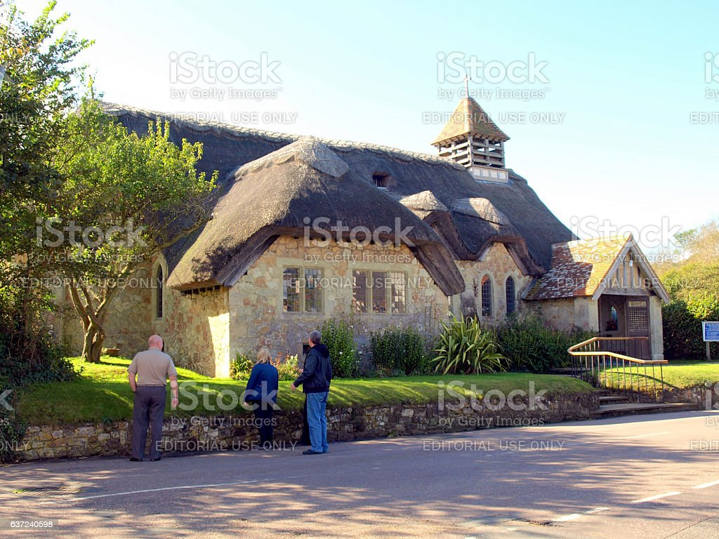 Thatched Church, Isle of Wight. stock photo