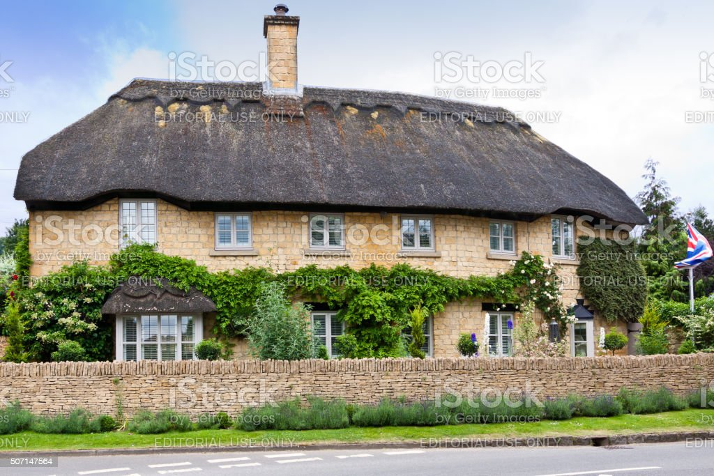 Thatched Cottage in Chipping Campden, Cotswold, England, United Kingdom. stock photo