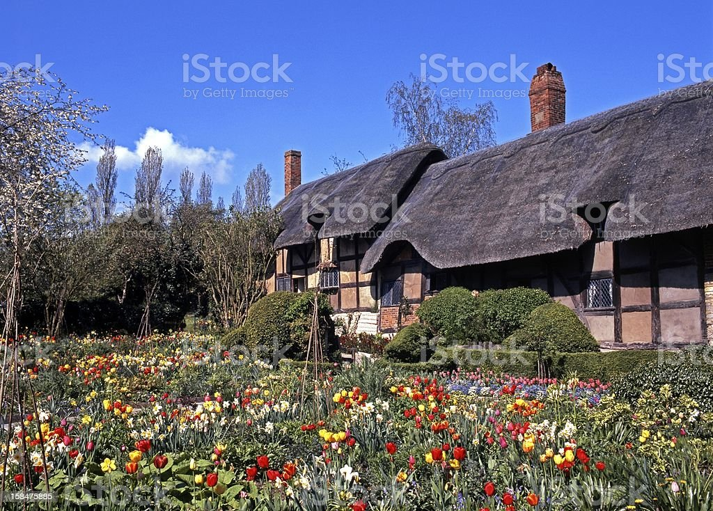 Thatched cottage, Shottery, England. stock photo