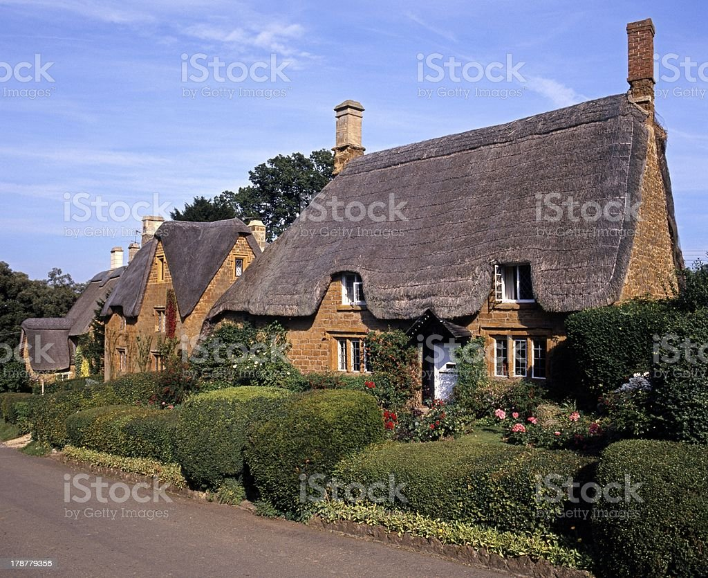 Thatched cottages, Great Tew, England. stock photo