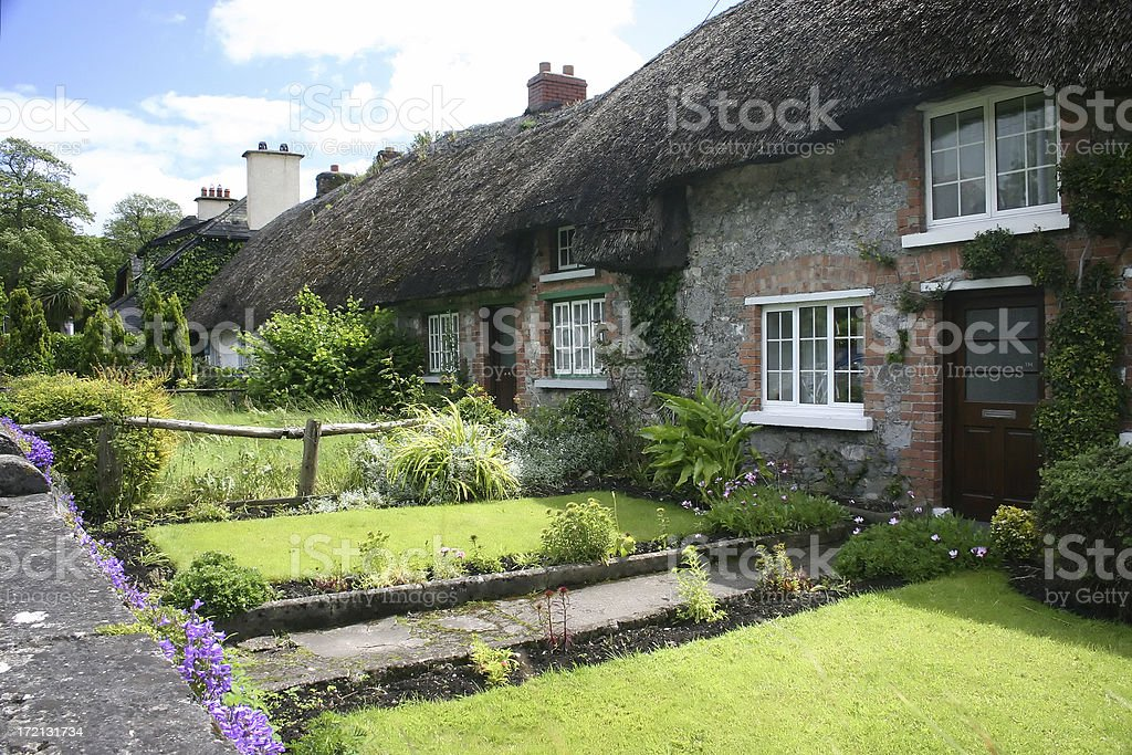 Thatched cottages in Adare, Ireland stock photo