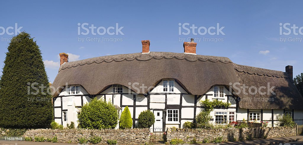 Thatched cottages. royalty-free stock photo