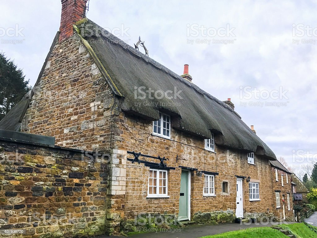 Thatched cottages stock photo