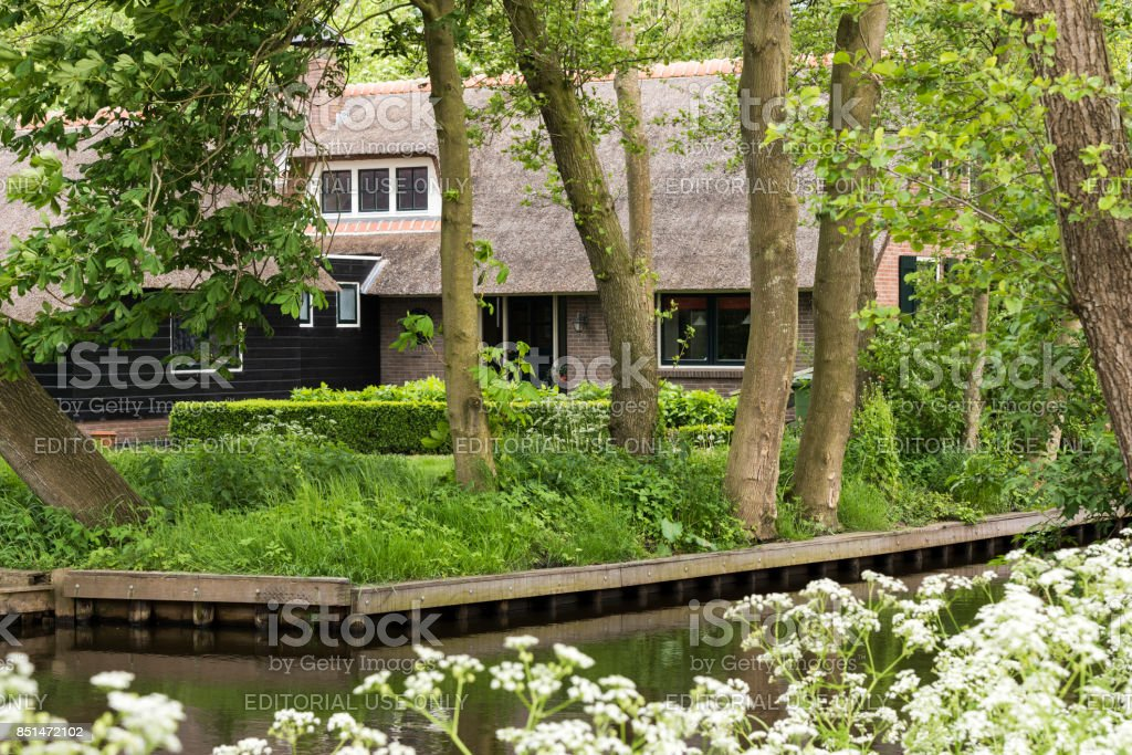 Thatched House Giethoorn Netherlands stock photo