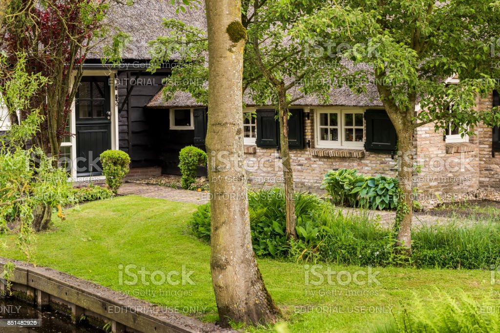 Thatched House Giethoorn stock photo