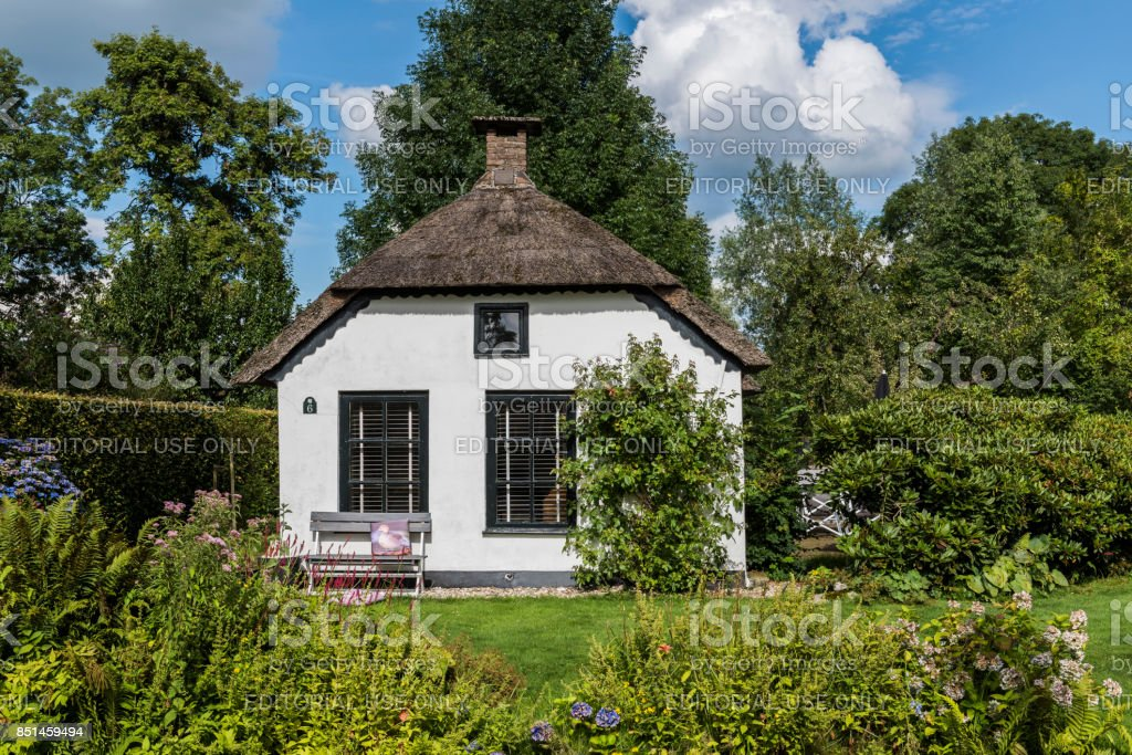 Thatched House in Giethoorn Netherlands stock photo