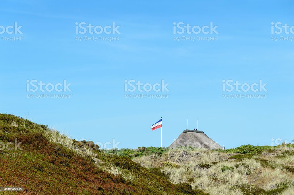 Thatched Roof House in the Dunes stock photo