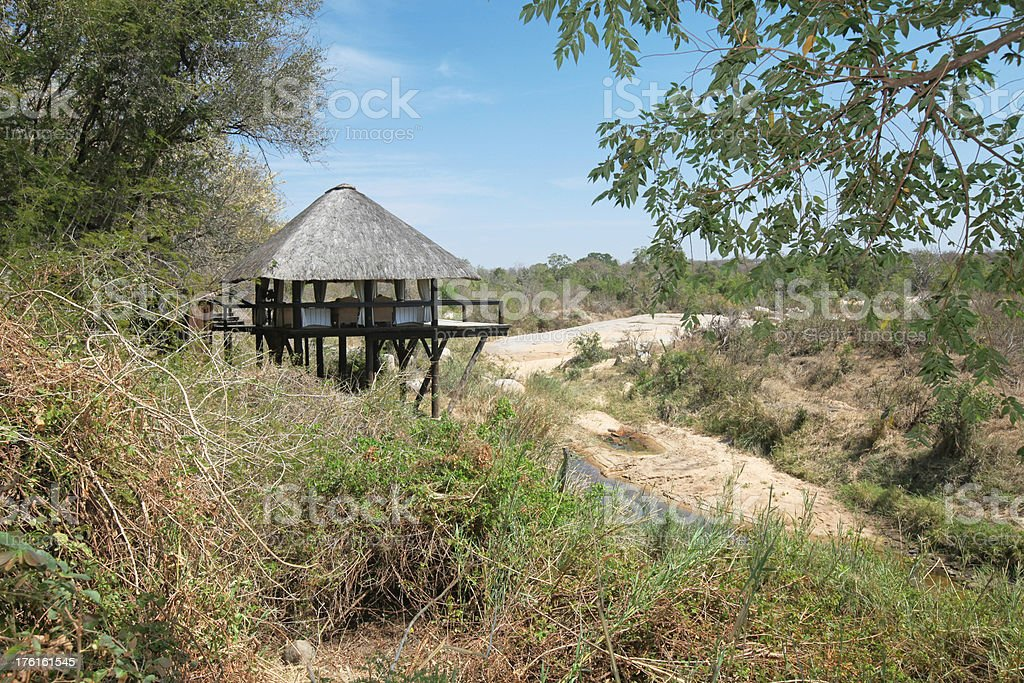 Thatched Roof Hut In Wilderness stock photo