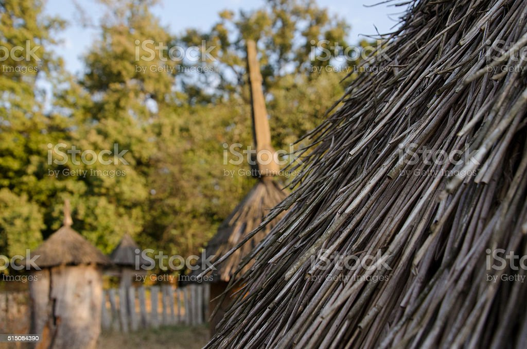 thatched roof huts stock photo