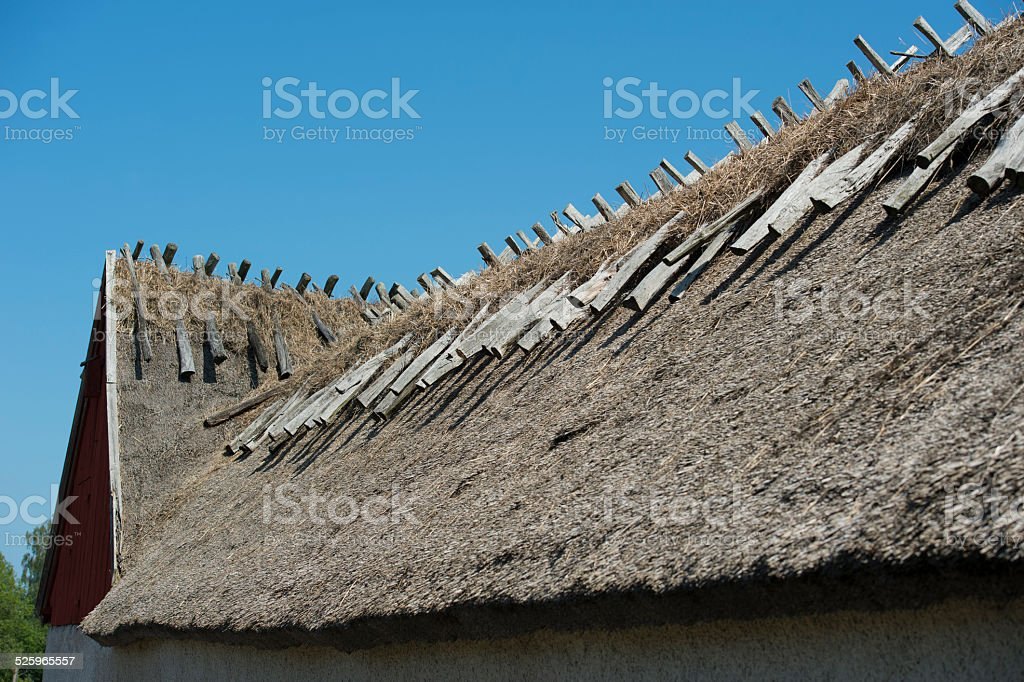 Thatched roof on a barn on Oland, Sweden stock photo