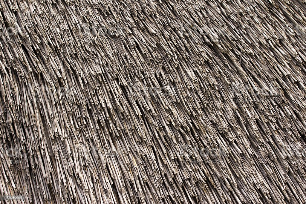 Thatched roof texture. Closeup of straws royalty-free stock photo