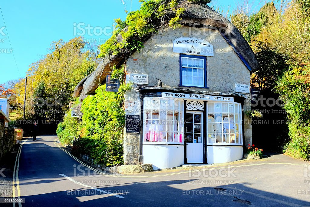 Thatched Tea rooms, Godshill. stock photo