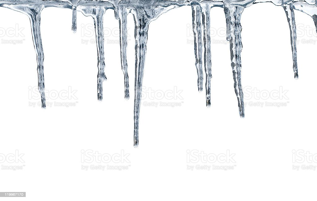 Thawing icicles stock photo