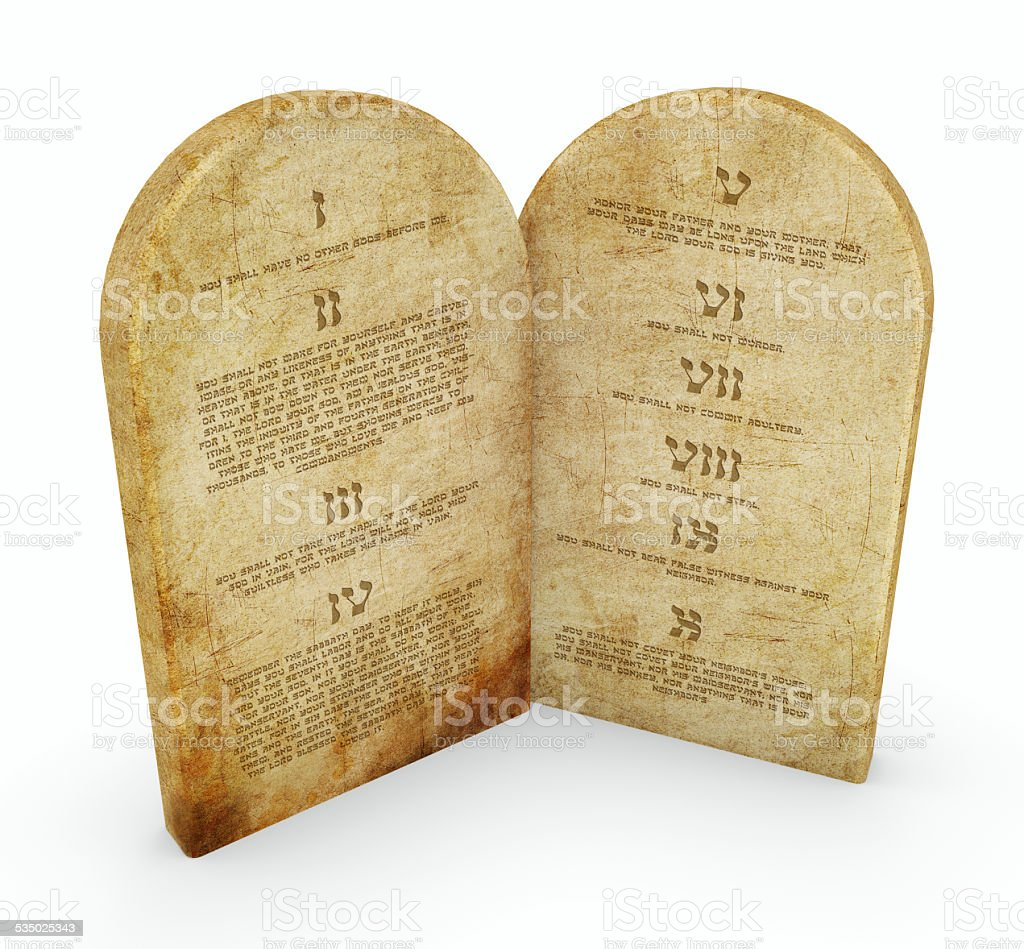 the 10 commandments, the tablets, tablets, stone stock photo