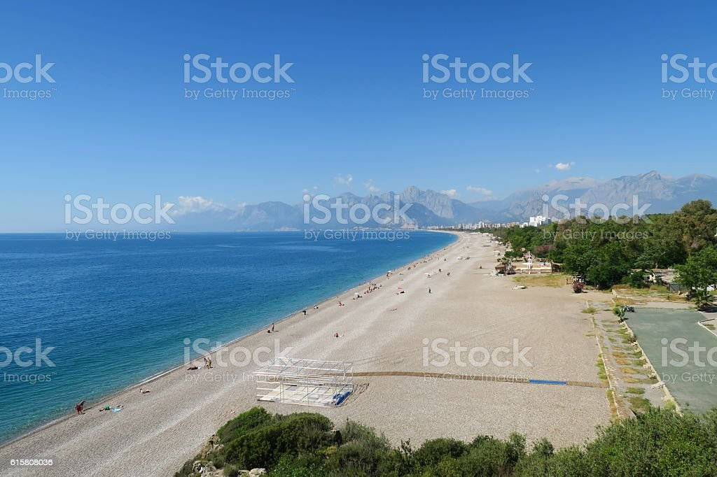 The 100m wide Konyaalti Beach on a Spring Day in stock photo