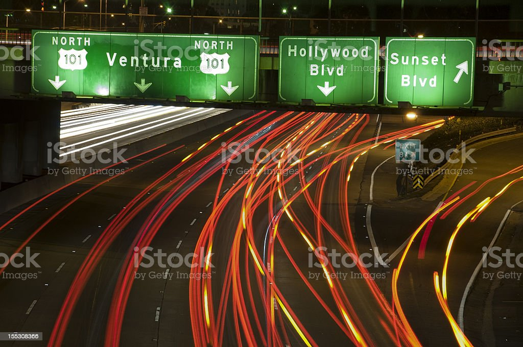 The 101 Freeway Sunset Exit royalty-free stock photo