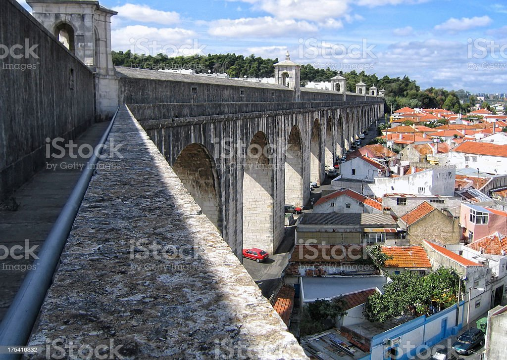 The Águas Livres Aqueduct in Lisbon (Portugal) stock photo