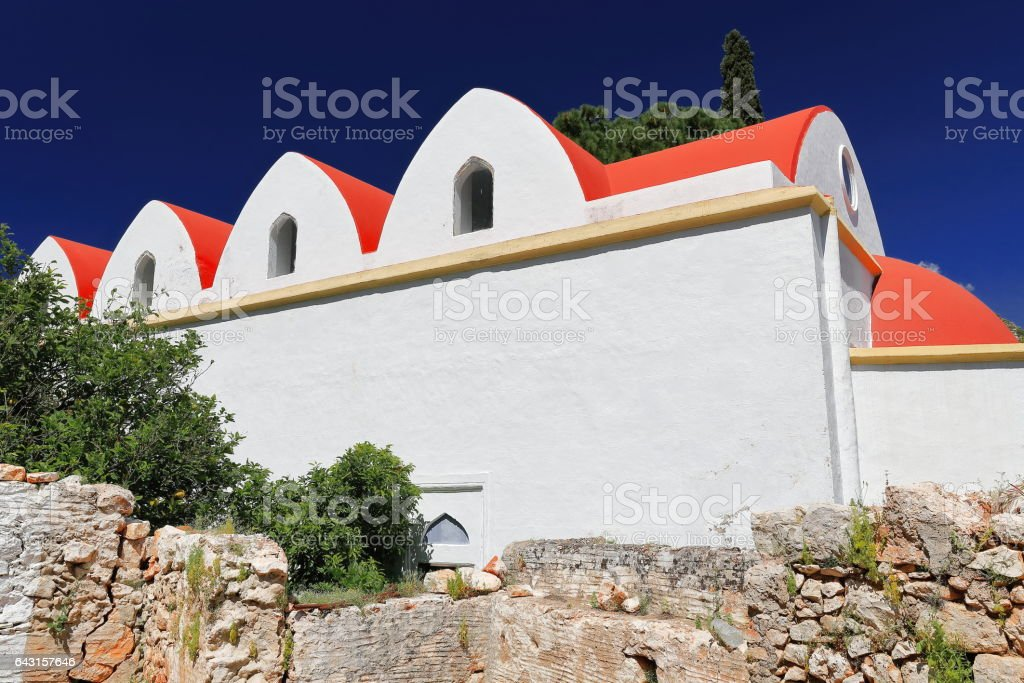 The 2008 AD.restored Agios Merkourios-Saint Mercurios church. Kastellorizo-Greece. 1671 stock photo