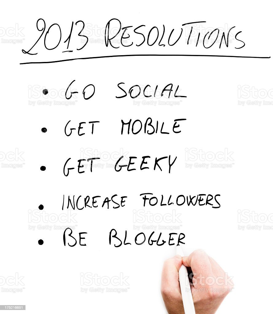 the 2013 good resolutions on whiteboard royalty-free stock photo