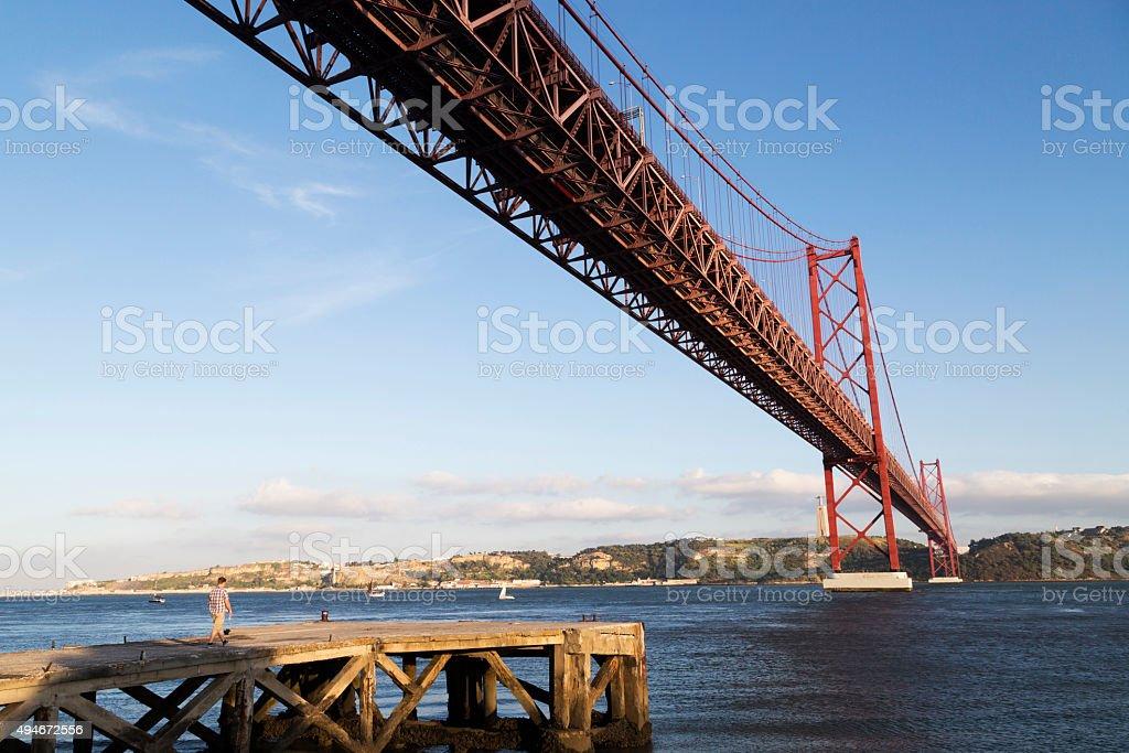 The 25 de Abril Bridge, Lisbon stock photo