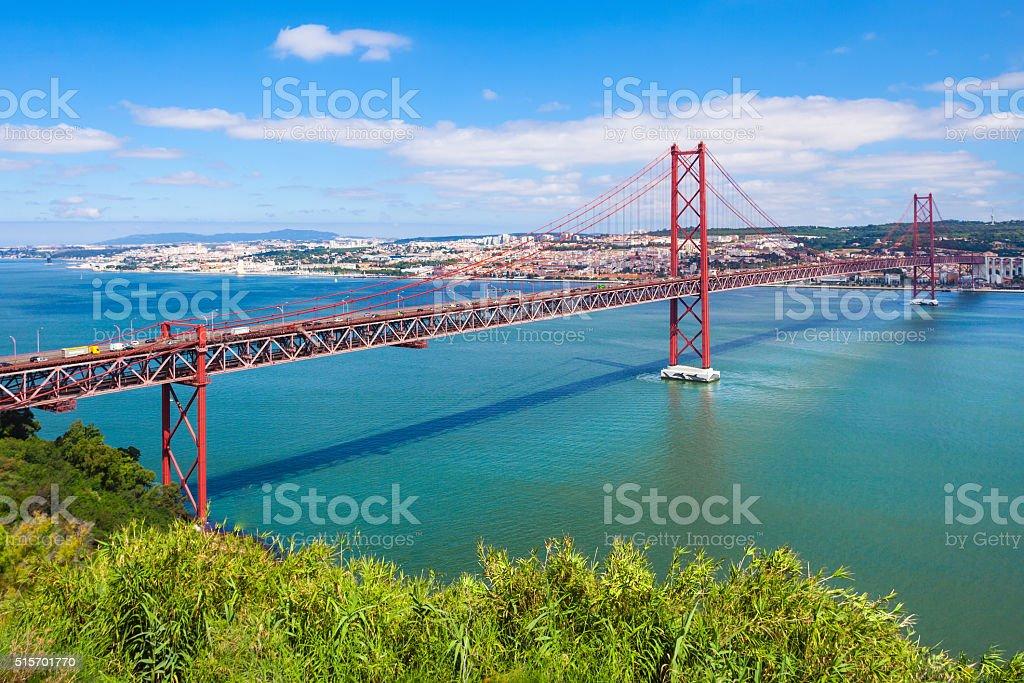 The 25 de Abril Bridge stock photo