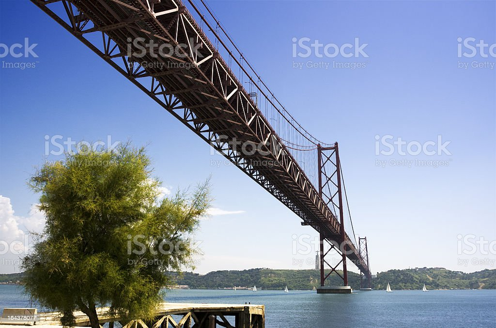 The 25th of April suspension bridge in Lisbon royalty-free stock photo