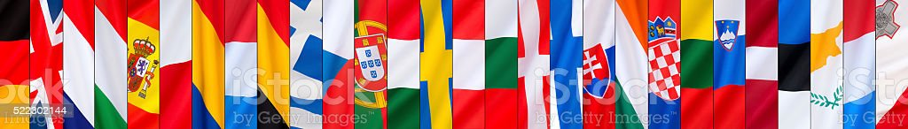 The 28 Flags of the European Union - Page header stock photo