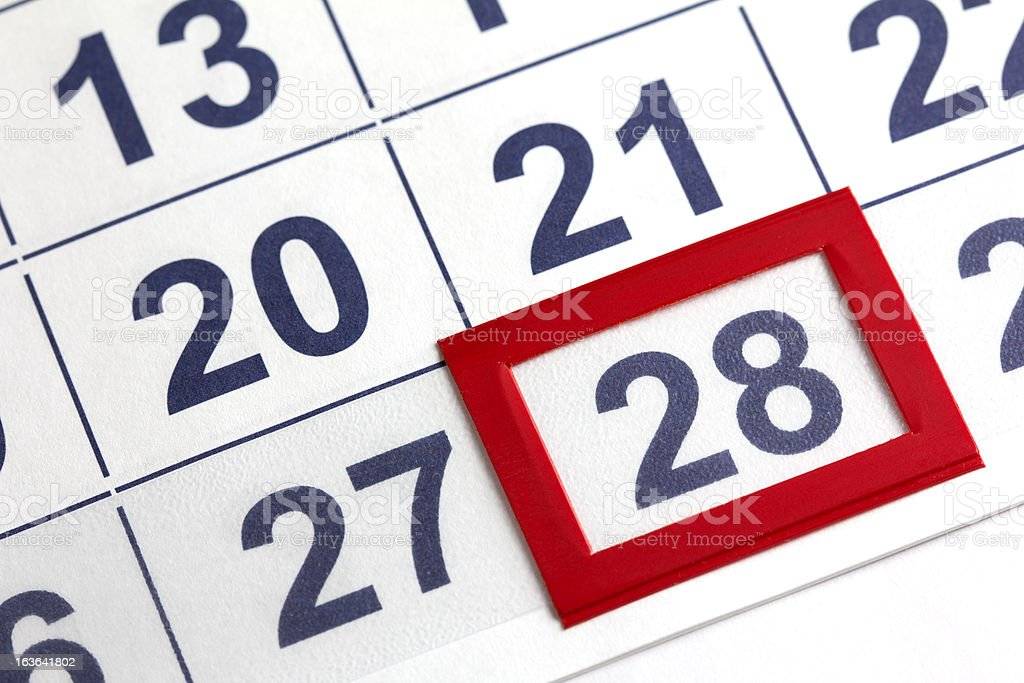 The 28th Day on a Calendar Boxed in Red stock photo