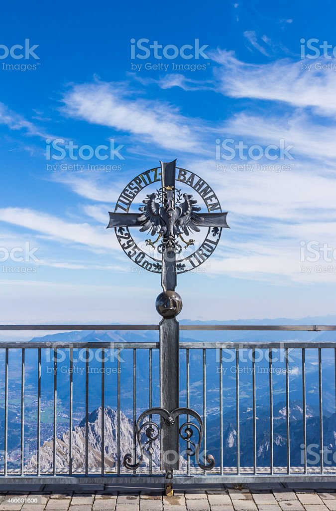 The 2950 m elevation sign at Zugspitze stock photo