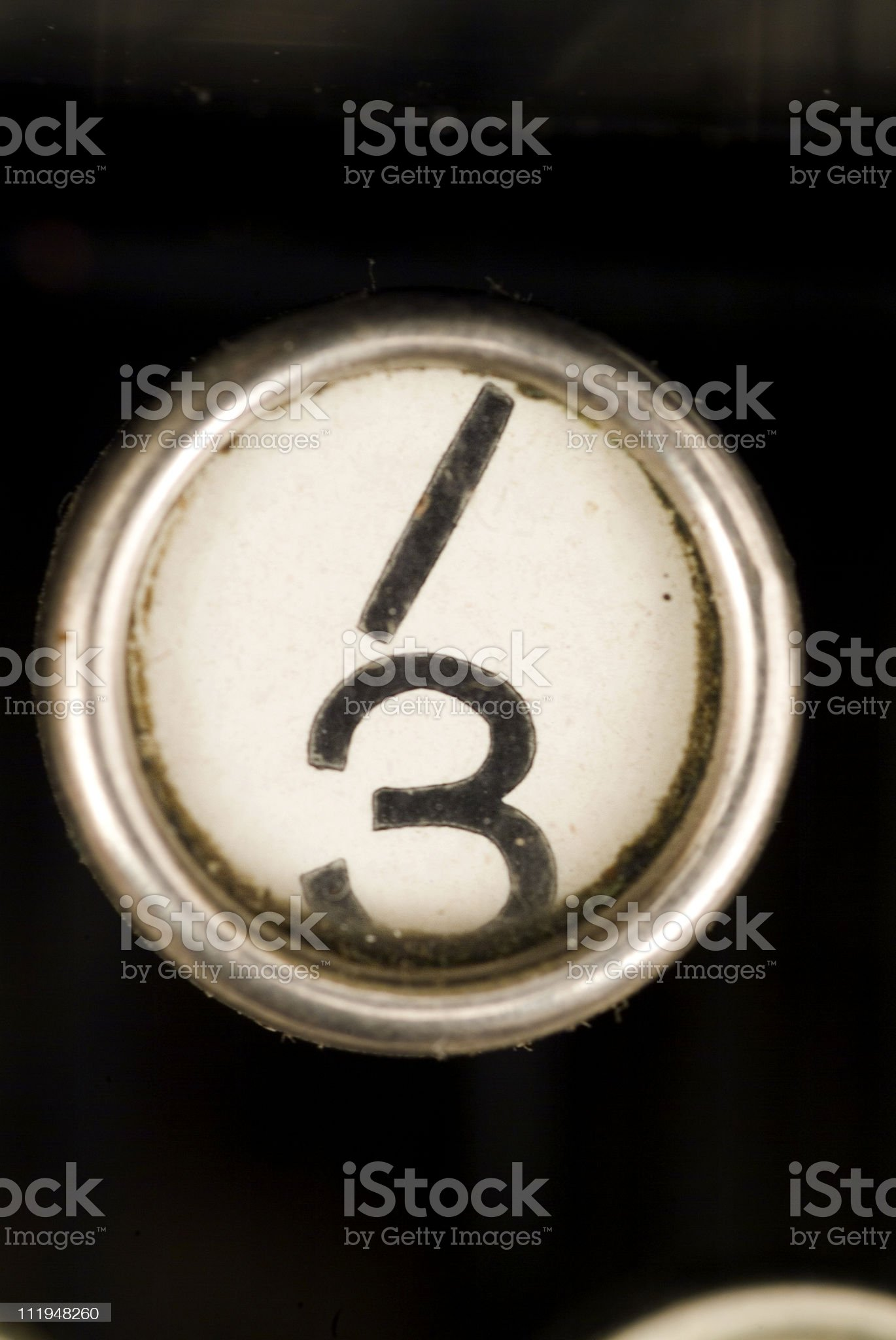 The 3 key from an antique typewriter royalty-free stock photo