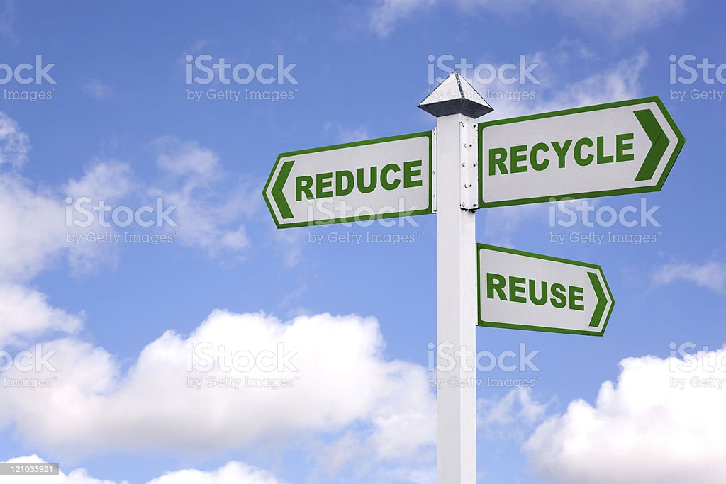 The 3 Rs green signpost royalty-free stock photo