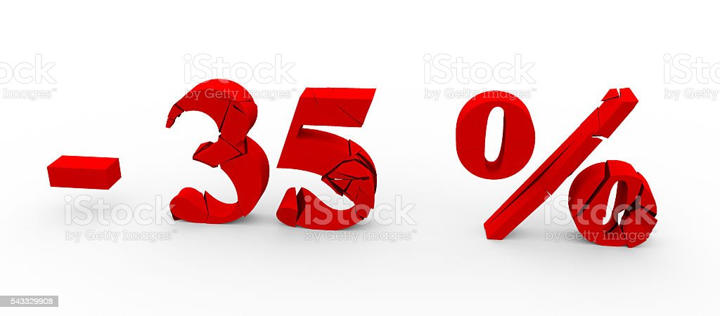 The 35 percent discount icon on white background 3D stock photo