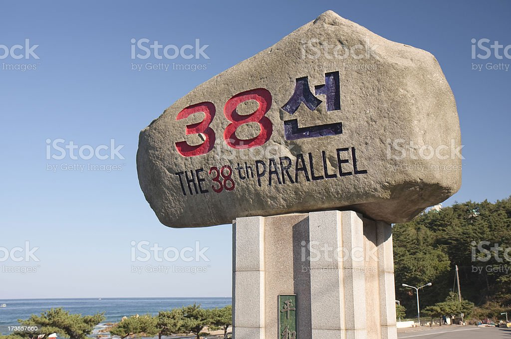 The 38th Parallel sign and ocean stock photo