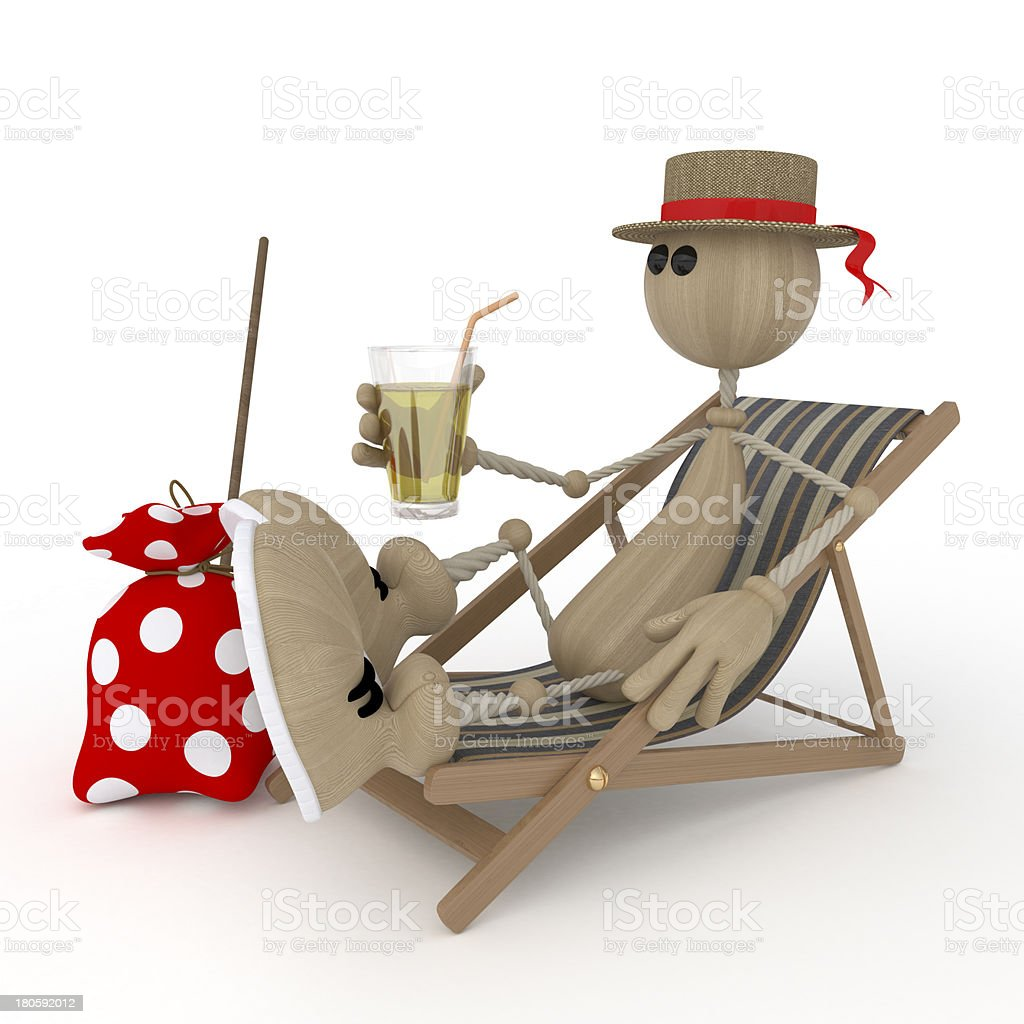 The 3D little man on a beach. royalty-free stock photo