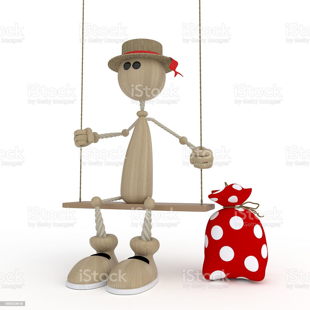 The 3D little man on a swing. royalty-free stock photo