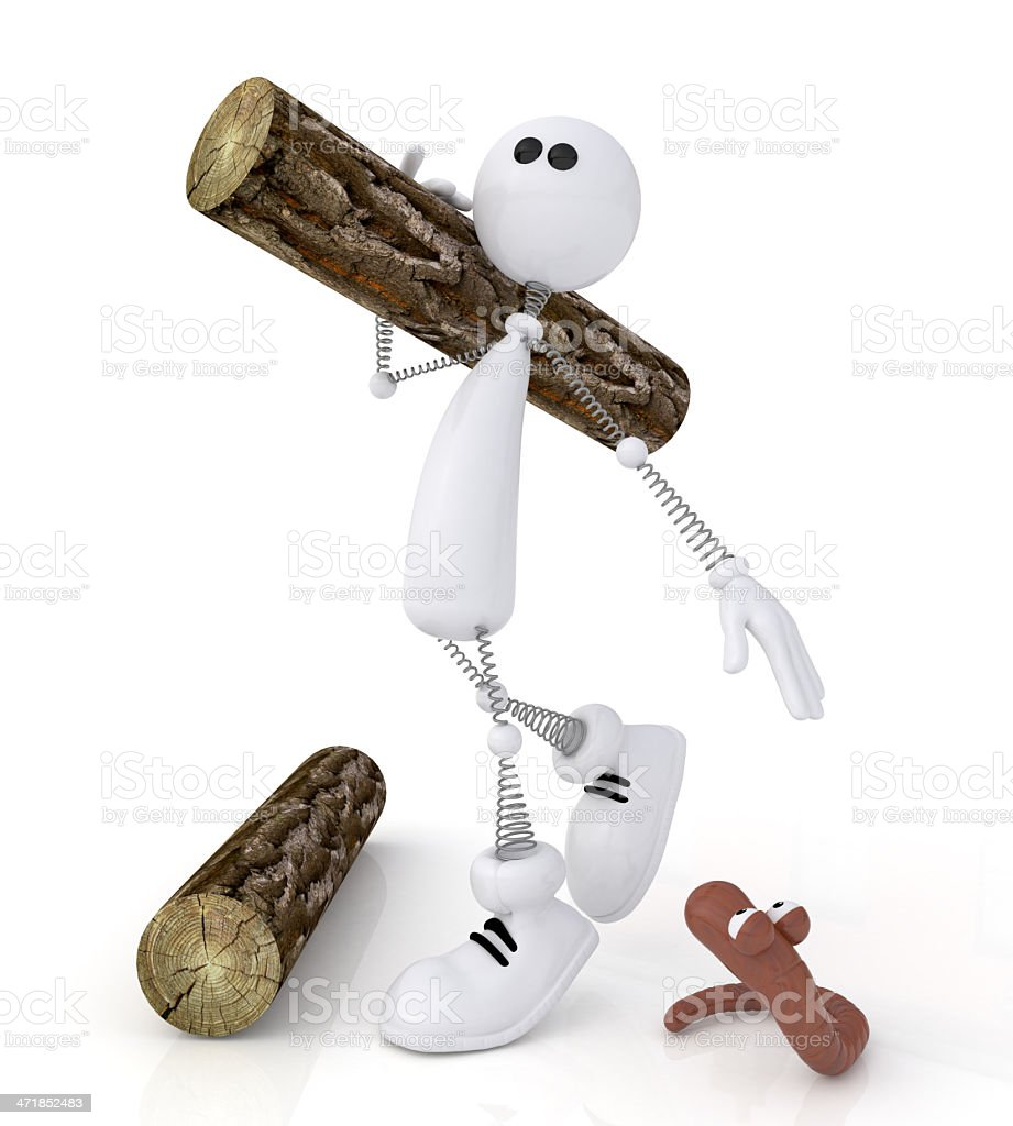 The 3D little man with a log. royalty-free stock photo