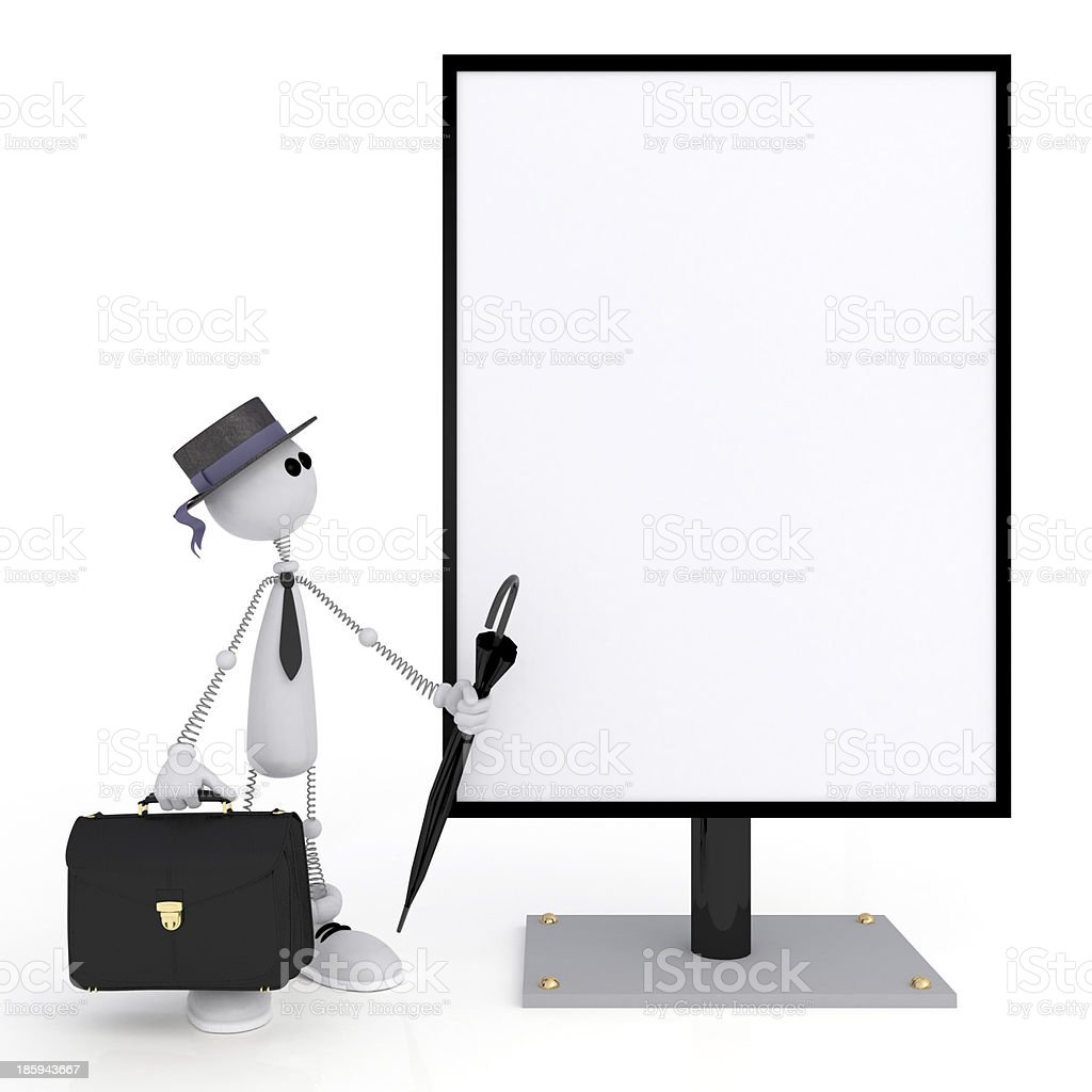 The 3D little man with a signboard. royalty-free stock photo