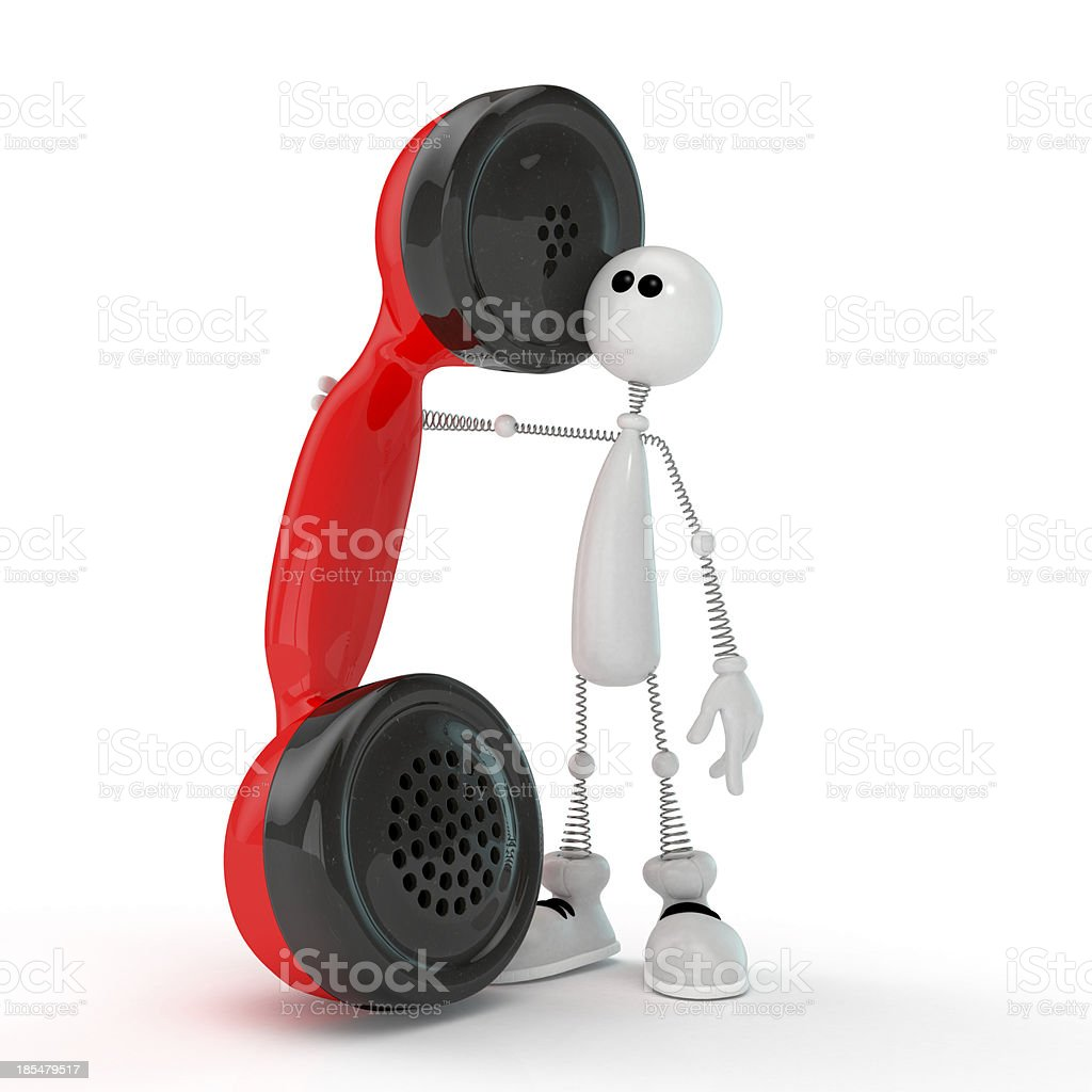 The 3D little man with phone. royalty-free stock photo