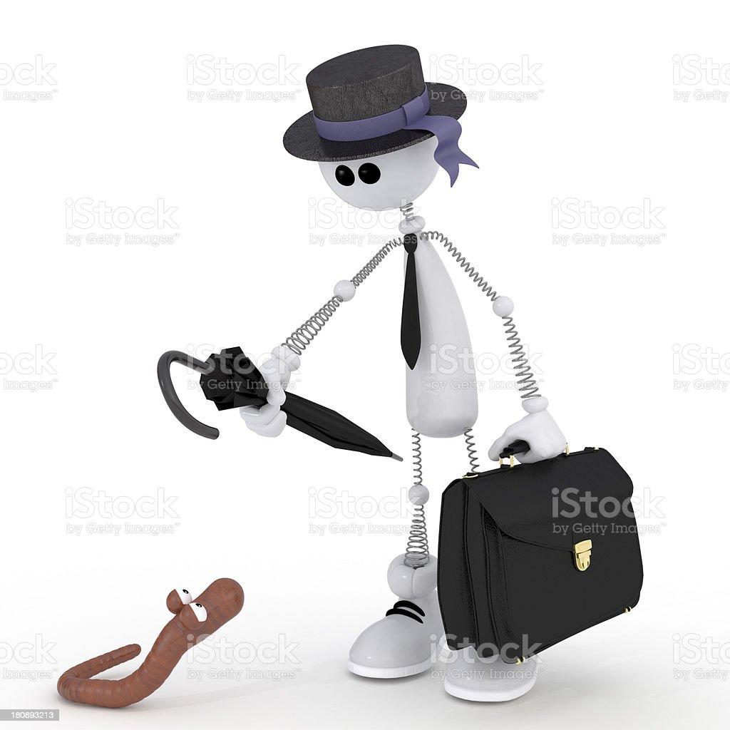 The 3D white little man with a portfolio. royalty-free stock photo