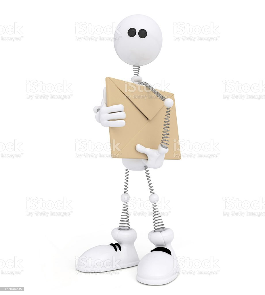 The 3D white mail carrier on springs. royalty-free stock photo